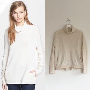Theory Ivory Norman B Royal Cowl Neck Cashmere